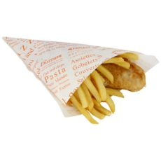 Cono di carta per patate fritte da asporto, decorato, medio