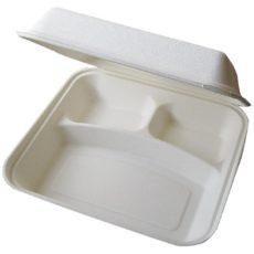 Contenitore per cibo da asporto biodegradabile a 3 comparti