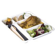 Vassoio biodegradabile e compostabile a 5 comparti medio-self-service-take-away-pasto-completo