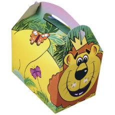 Cestino-per-pic-nic-in-cartoncino-stampato-a-colori-per-menù-bambini-modello-giungla