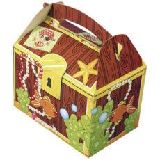 Cestino-per-pic-nic-in-cartoncino-stampato-a-colori-per-menù-bambini-modello-tesoro